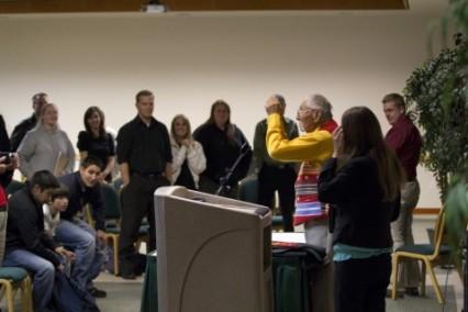 Standing ovation for Former Navajo Code Talker Albert Smith at Utah Valley University in 2011