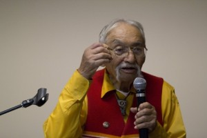 My uncle, Albert Smith, lecturing at the public event my class hosted in 2011 (photo by David Carter)