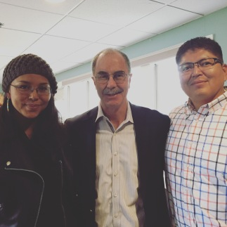Dartmouth College President Philip Hanlon with Janene Yazzie and Tommy Rock, guest speakers for Water River Life Giver Symposium