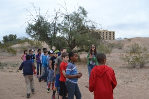 Farina King volunteering with school field trips at the Mesa Grande Cultural Park