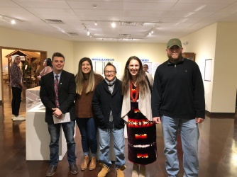 """Dr. King with NSU students at the opening reception of the """"Missing Pieces"""" on March 30, 2019"""